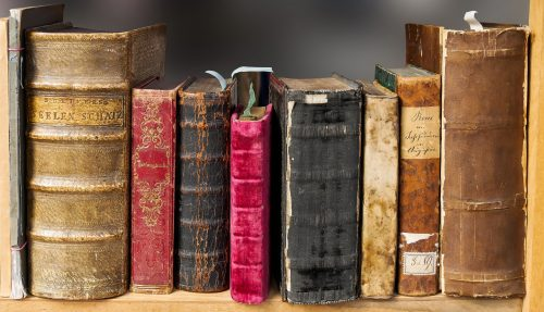 Shelf of old books